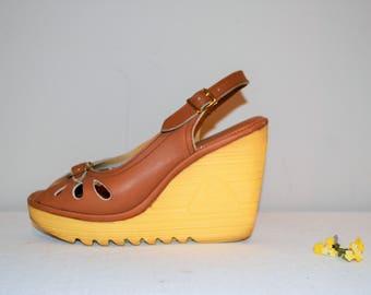 Vintage Shoe Chunky Wedge Cherokee 1970's