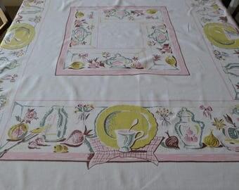 Vintage Kitschy Klatsch 1950's Tablecloth