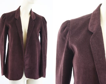 Vintage Retro Brown Corduroy Open Front Woman's Vintage Blazer