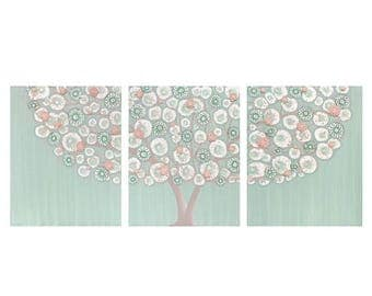 ON SALE Tree Nursery Art for Baby Girl- Textured Canvas Painting Triptych in Teal and Pink - Large 50x20