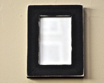 Distressed Black Picture Frame Solid Wood with Glass, Backing and Mounting Hardware for 4x6 print