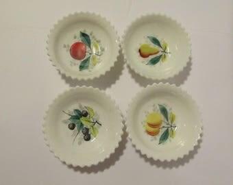 VERY RARE White Westmoreland Milk Glass English Hobnail Pattern Dessert Dish/Dishes Hand Painted Fruit Saw Edge Wedding China Mid Century #1