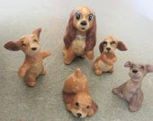 Vintage Hagen Renaker Disney Lady Tramp Puppies, Vintage Disney Dogs, Ceramic Dog and Puppies, Miniature Animal Figurine, Hagen Renaker Dogs