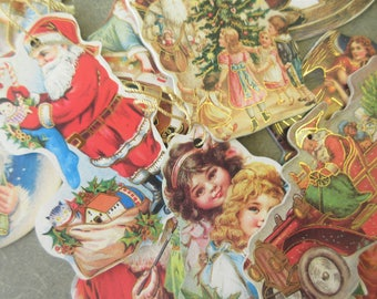 Vintage Christmas Ornaments, Old Fashioned Images, Lithographed Cardboard Xmas Ornaments, Santa Ornament, Angles, Old Fashioned Children
