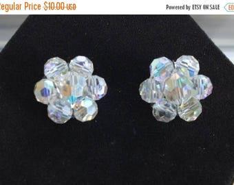 On sale Beautiful Vintage Aurora Borealis Crystal Clip Earrings