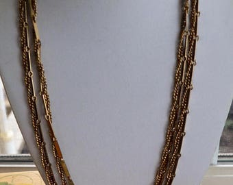 """On sale Pretty Vintage Long Gold tone Chain Link Double Strand Necklace, 52', """"Celebrity NY"""" (E17)"""