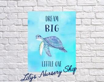 Dream Big Little One, Ocean Turtle Art, Navy Blue Nursery,  Toddlers Room, Watercolor Turtle Art Print