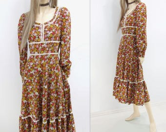 Boho Floral Dress 1970s Peasant Dress Boho Hippie Dress 70s Festival Dress 1970s Calico Dress Burgundy Floral Dress 70s Prairie Dress s
