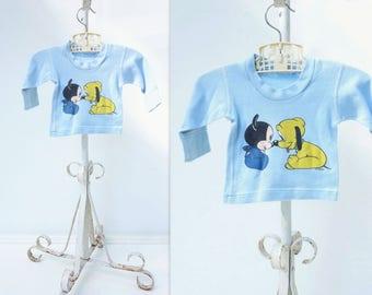 Vintage Baby T Shirt 70s Disney T Shirt Vintage Baby Disney Baby Mickey T Shirt Baby Pluto Shirt Disney T Shirt Baby Blue T Shirt 3m to 6 m