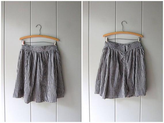 Vintage Checkered Skirt High Waist Mini Skirt Thin Cotton Skirt School Girl Black White Pin Up Skirt Preppy Check Skirt Womens Medium