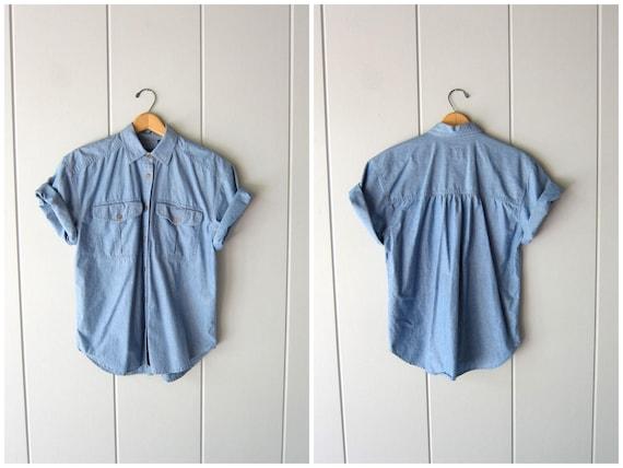 Vintage 90s Blue Cotton Shirt Short Sleeve Button Up Tee Thin Denim Shirt Hipster Minimal Boho Jean Shirt Womens Small Medium
