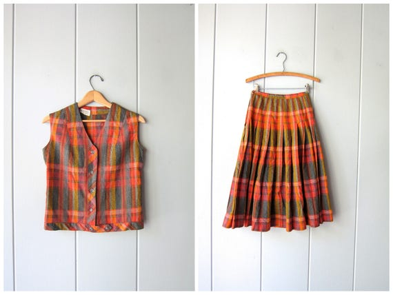 50s Wool Skirt & Vest Set MATCHING SET Orange Pleated High Waist Skirt Preppy Cropped Vest Top Button Up Tank Louannes Vintage Womens Small