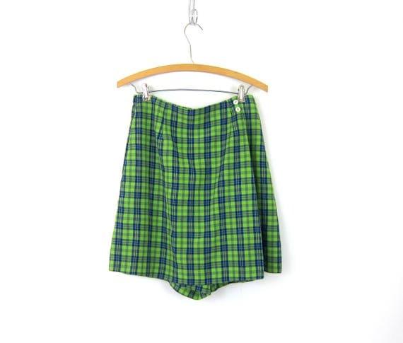 Lime Green SKORT Culotte shorts Wide Leg Shorts Mini Kilt Skirt Blue Plaid Pattern Shorts High Waist Elastic Shorts Women's Size 12 Large