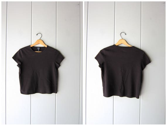 90s Black Tshirt Eileen Fisher Black Shirt Basic Boxy Tee Simple Minimal Modern Vintage Black Cotton Top Casual Crop Tee Shirt Womens Small