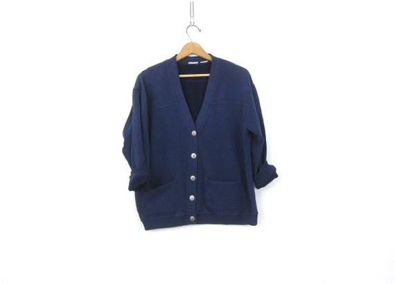 Blue Sweatshirt Cardigan Vintage Athletic Sporty Sweatshirt Distressed Slouchy Minimal Plain Basic Pocket Sweater Womens Size Medium