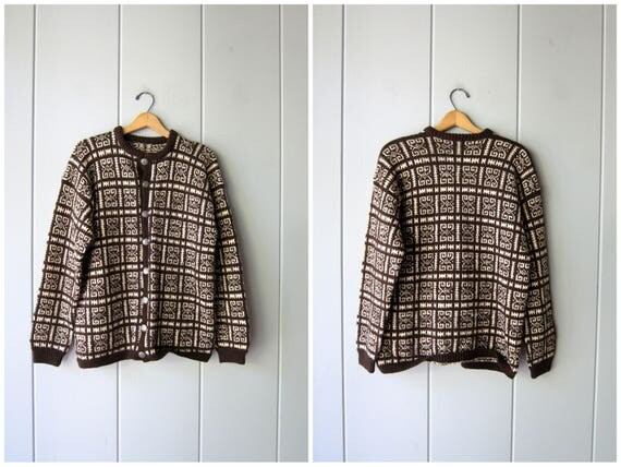 Oversized Natural Wool Sweater Button Up Cardigan Sweater Handwoven Thick Wool Sweater Printed Brown White Ethnic Sweater Womens Large XL