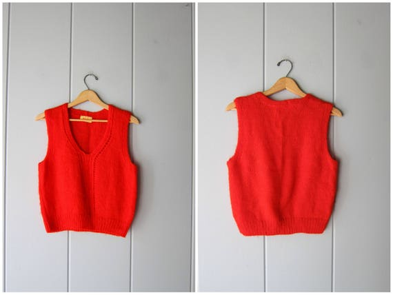 60s Red Knit Sweater Top Soft Woven Knit 70s Sweater Vest Top Mod Vneck Knit Tank Top Prairie Peasant Hipster Minimal Womens Small Medium