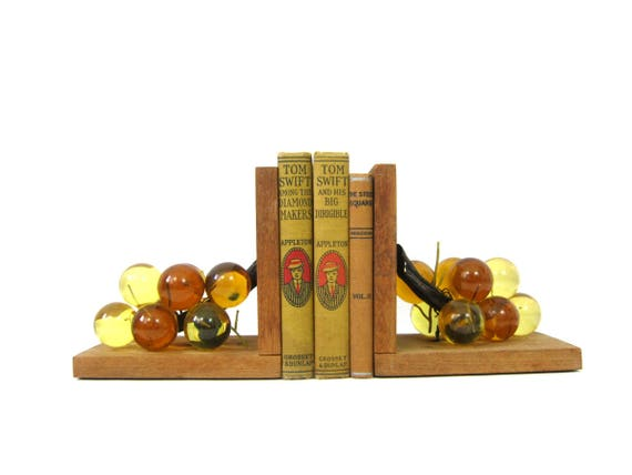 Pair of Lucite Grapes Bookends Mid Century MOD home decor Vintage Book Ends Display Retro Hipster