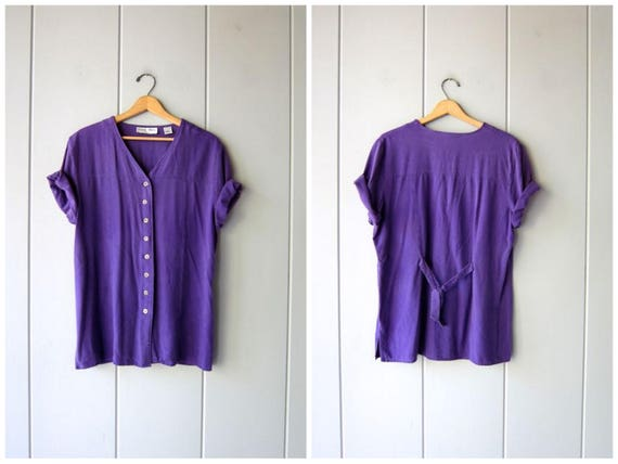 Natural Brushed Silk Top Purple Silk Minimal Button Up Short Sleeve Tee 90s Minimal Modern Raw Silk Oversized Blouse Vintage Womens Large XL