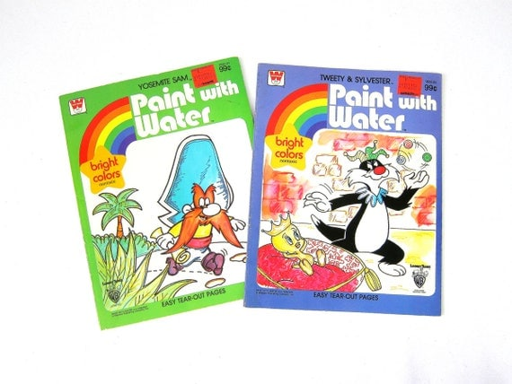 1980s Vintage Paint with Water Coloring Books Yosemite Same & Sylvester the Cat Tweety Bird Warner Brothers Paper Ephemera Children's Books