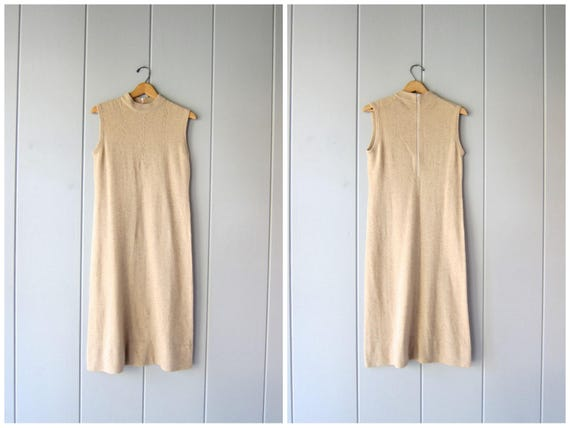 80s Minimal Knit Dress Camel Brown Beige Vintage Sleeveless Dress Thin SOFT Cashmere Blend Midi Modern Fall Shift Dress Minimal Women Medium