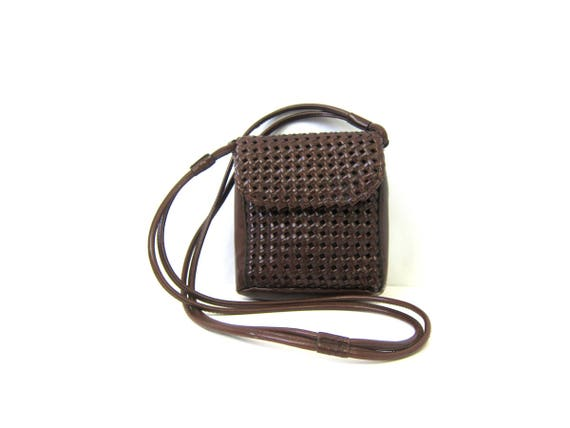 Brown 90s Braided Purse Small Crossbody Strap Preppy Bag Vintage Simple Woven Cross Body Preppy Faux Leather Purse