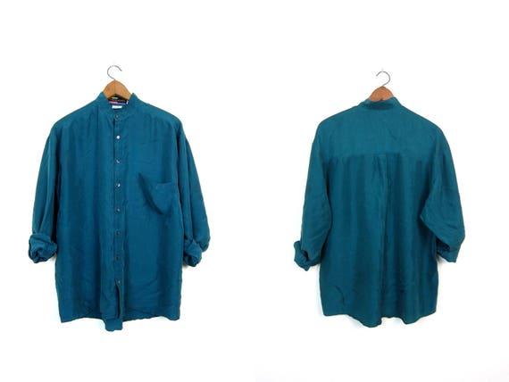 Minimal Silk Blouse Oversized Teal Blue Slouchy Shirt Button Up Modern Silk Top Long Sleeve Casual Baggy Top Loose Fit Unisex Mens Medium