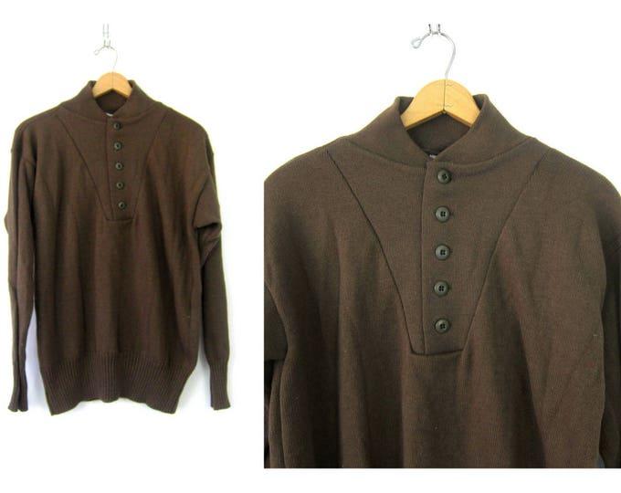 Army Green Henley Sweater Green Sweater Military Pullover Basic Grunge Button Up Boyfriend Sweater Vintage Men's Size XL