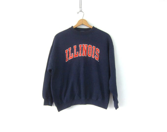 Worn In sweatshirt Navy Blue ILLINOIS pullover sweater Hipster School Sports Athletic Sweater COED Unisex Top Size Medium Large