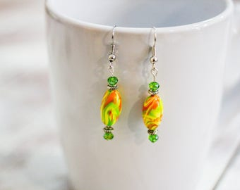 Dangle Earrings - Green Orange Yellow - Handmade Beads