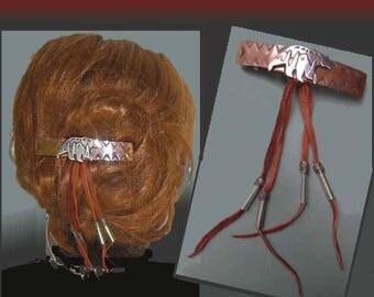 BEAR-ette, Native American Hair Ornament, Mixed Metals, Bear Motif, Leather Fringe, Western Style, Swing Dance, Vintage Accessories, Women