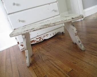 Vintage Stool * White * Chippy Paint * Old Farmhouse * Shabby Chic * Cottage