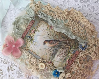 Vintage Bird Collage, Shabby Bird Wall Hanging, Tattered Bird Art,  Mixed Media, Fabric Collage, Lace Collage, Assemblage Art