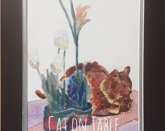 Maine Coon Cat painting, watercolor on canvas, contemporary art, includes mat, Texas artist