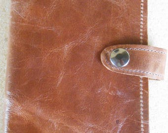 Brown Leather Top Stub Check Book or Memo Book Cover with Snap Closure and Pen Slot Inside