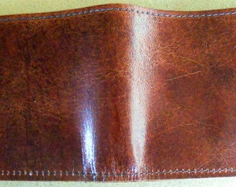 Light Brown Single Fold Leather Wallet with Card Pockets and Money Pocket