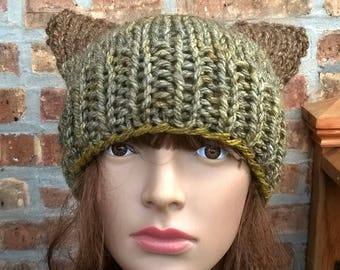 Knit Hat, Hand Knit Hat, Pussycat in Maple, Womens Knit Hat, Pussycat Hat, Cat Hat, Knit Cat Hat, Womens Winter Hat, Knit Accessories