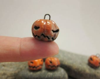 RESERVED for tdover23 RESERVED Grumpy Raku Jack'O Lantern Charm...Orange