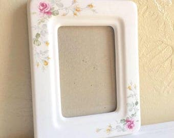 Vintage Porcelain Picture Frame with Beautiful Flowers Rectangular Opening 4x5 3x4.75