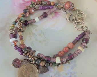 Hippie, Boho Beaded Bracelet, Purple and Green With French 10 Franc Coin -REDUCED