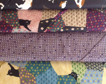 Quilt-Gate from Japan Neko, paw prints, calico and tuxedo cats