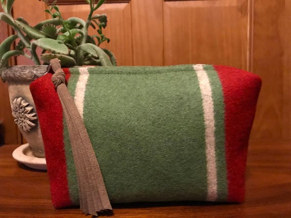 Wool Unlined Clutch / Cosmetic Bag / Makeup Bag / Travel Bag XL Green Serape Stripes