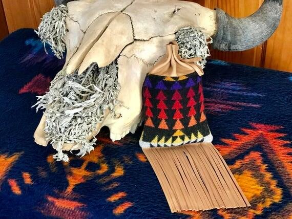 Fringed Possibles Bag XL / Cedar Bag / Medicine Bag / Drawstring Bag Wool & Leather Black Four Directions