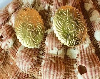 Southwestern Embossed Oval Shield Stud Earrings Gold