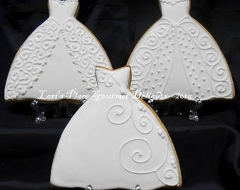 Wedding Gown Cookies - Wedding Dress Cookie - 12 Cookies