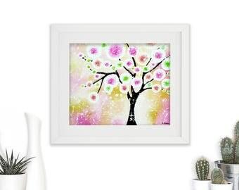 Spring Decor Wall Art, Whimsical Tree of Life Art Print, Bedroom Decor, Kitchen Decor, Gift for Her