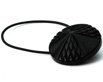 Bakelite Hair Accessory, Matte Black Vintage Bakelite  Button, Decorative Ponytail Holder, Etched Geometric Design, Holiday and Party Hair