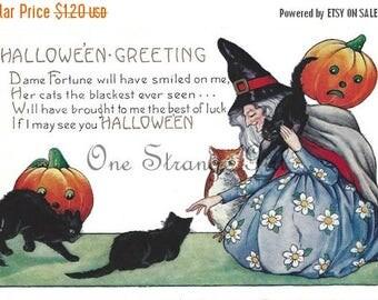 Mid Year Sale Vintage Halloween Postcard, Vintage Postcard Download, With a Witch, Owl, Orange Pumpkin, Black Cats, JPG, Halloween Download