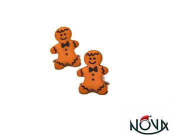 * Christmas * little gingerbread man studs