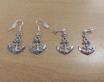 Anchor earrings, rhinestone anchor earrings, rhinestone earrings, blue anchor earrings, pink anchor earrings